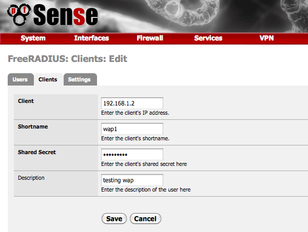 Getting RADIUS authentication to work with pfSense and DD-WRT.   pfSense is a pretty easy setup so go over to www.pfsense.org and download the LiveCD with installer and either setup a physical machine...