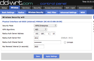 dd-wrt wireless security tab